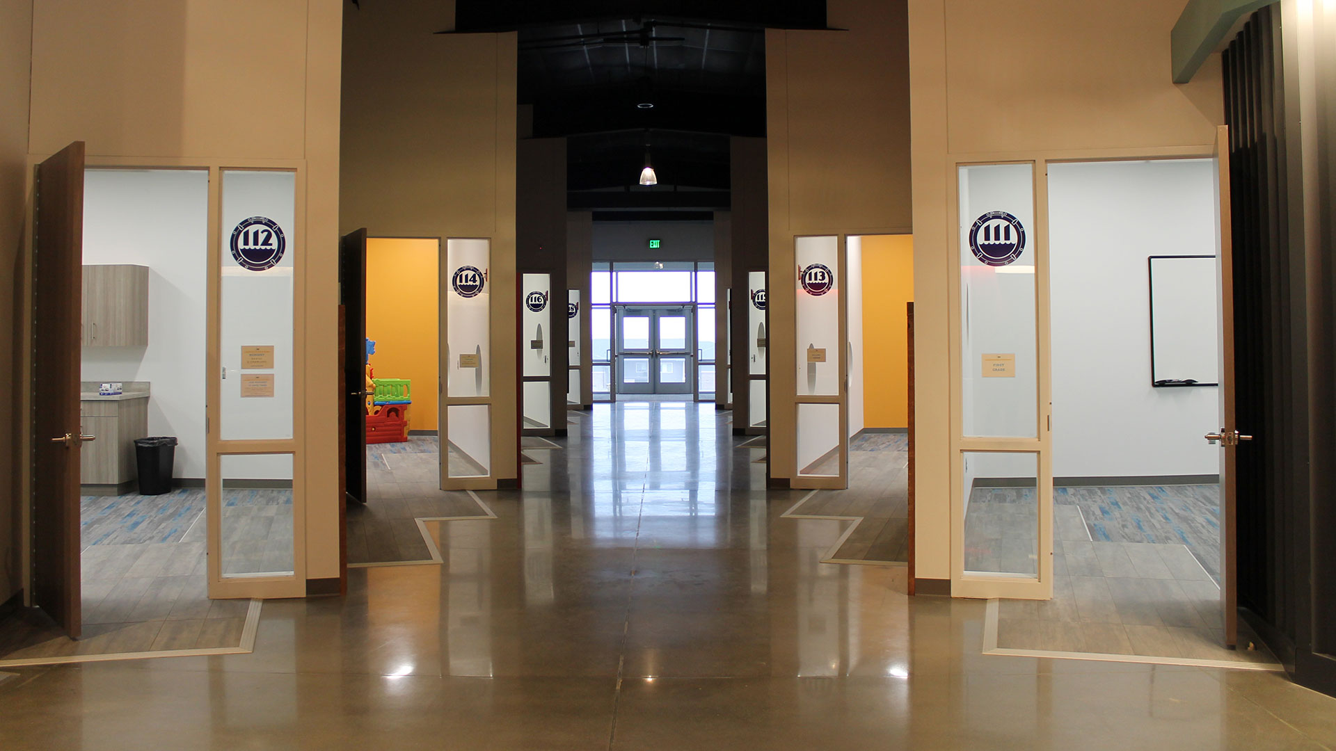 Classroom doors in WE Kids area at The Water's Edge Church in Omaha, NE