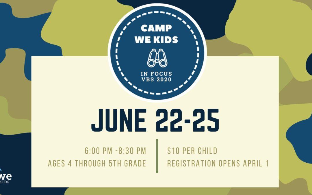 Camp WE Kids VBS 2020 Volunteer